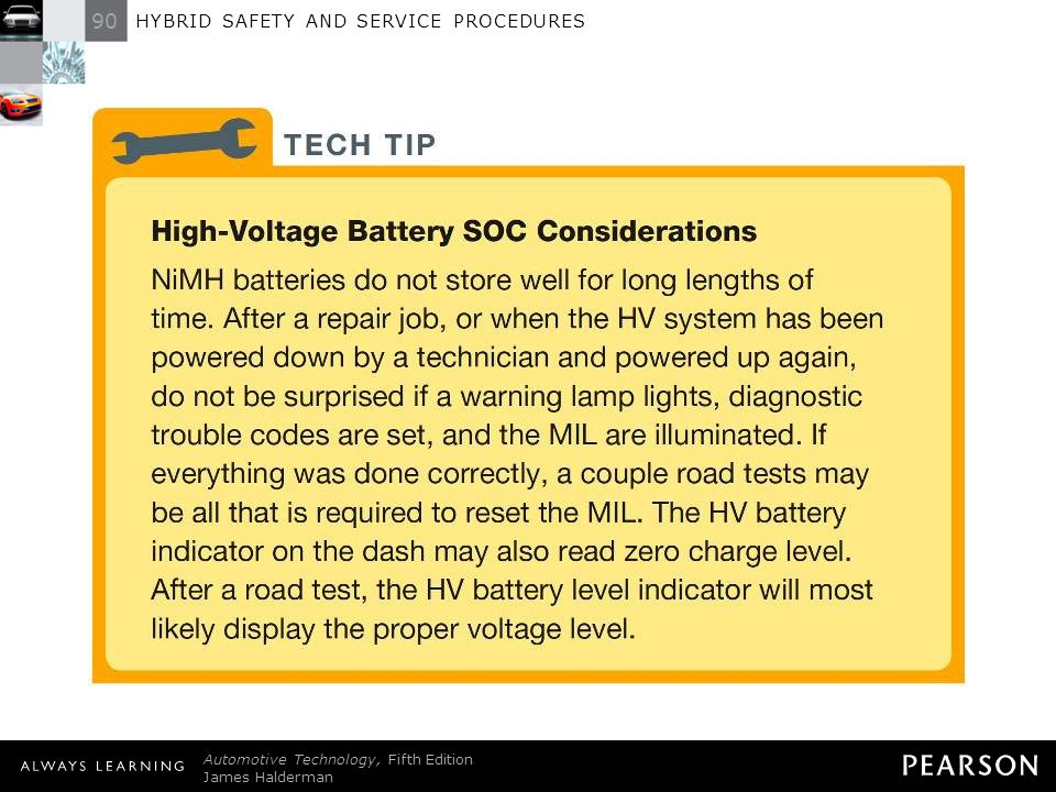 TECH TIP: High-Voltage Battery SOC Considerations NiMH batteries do not store well for long lengths of time. After a repair job, or when the HV system has been powered down by a technician and powered up again, do not be surprised if a warning lamp lights, diagnostic trouble codes are set, and the MIL are illuminated. If everything was done correctly, a couple road tests may be all that is required to reset the MIL. The HV battery indicator on the dash may also read zero charge level. After a road test, the HV battery level indicator will most likely display the proper voltage level.
