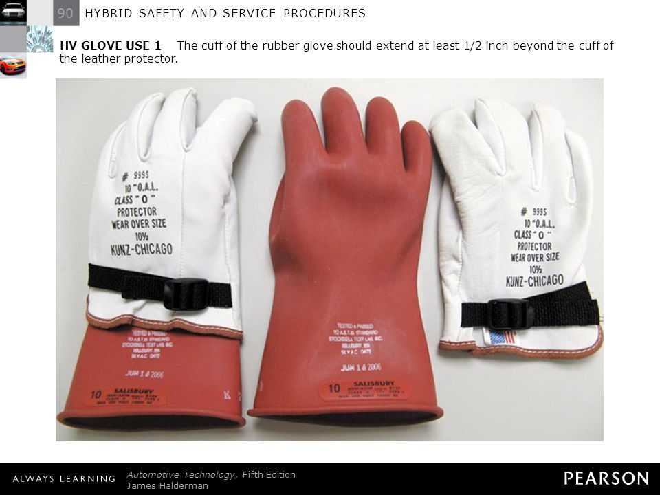 HV GLOVE USE 1 The cuff of the rubber glove should extend at least 1/2 inch beyond the cuff of the leather protector.