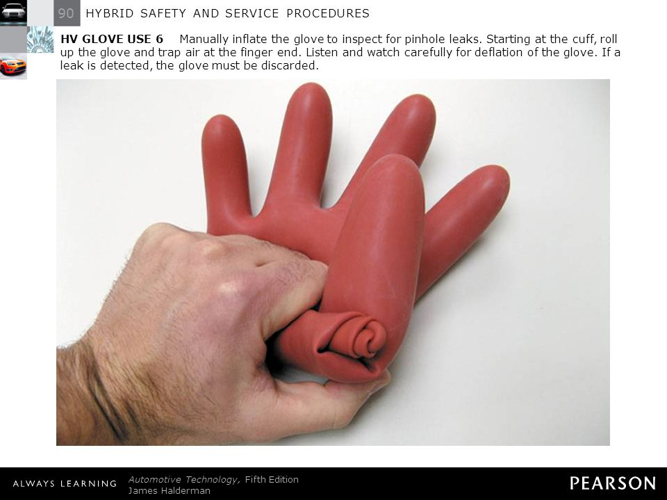 HV GLOVE USE 6 Manually inflate the glove to inspect for pinhole leaks