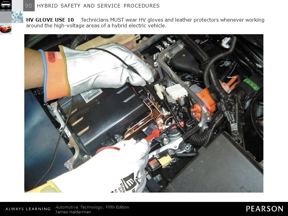 HV GLOVE USE 10 Technicians MUST wear HV gloves and leather protectors whenever working around the high-voltage areas of a hybrid electric vehicle.
