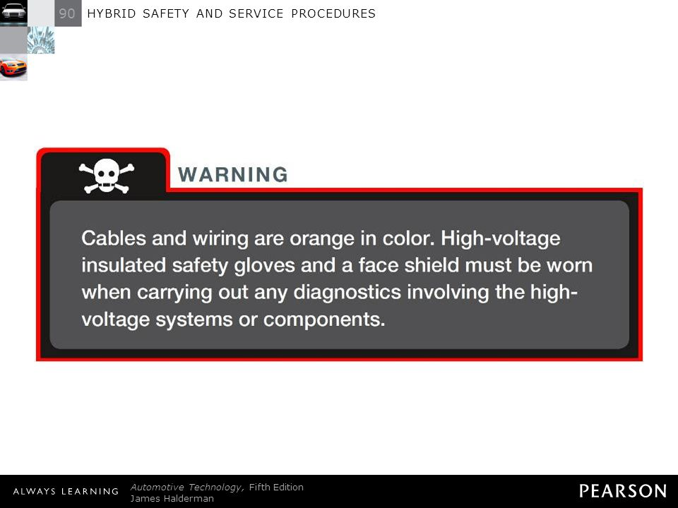 WARNING: Cables and wiring are orange in color