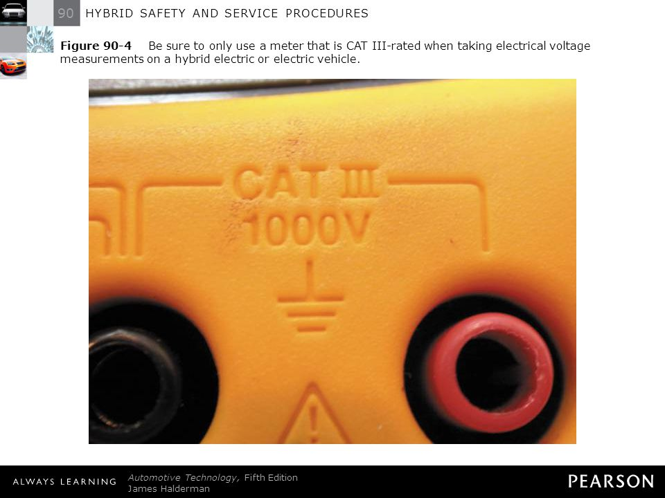 Figure 90-4 Be sure to only use a meter that is CAT III-rated when taking electrical voltage measurements on a hybrid electric or electric vehicle.