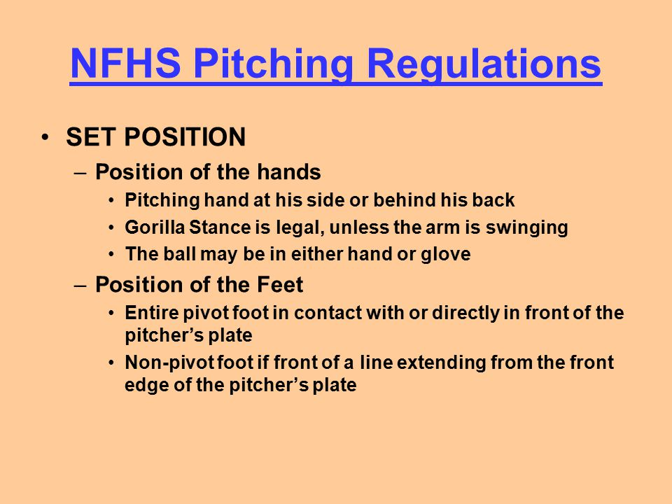 NFHS Pitching Regulations