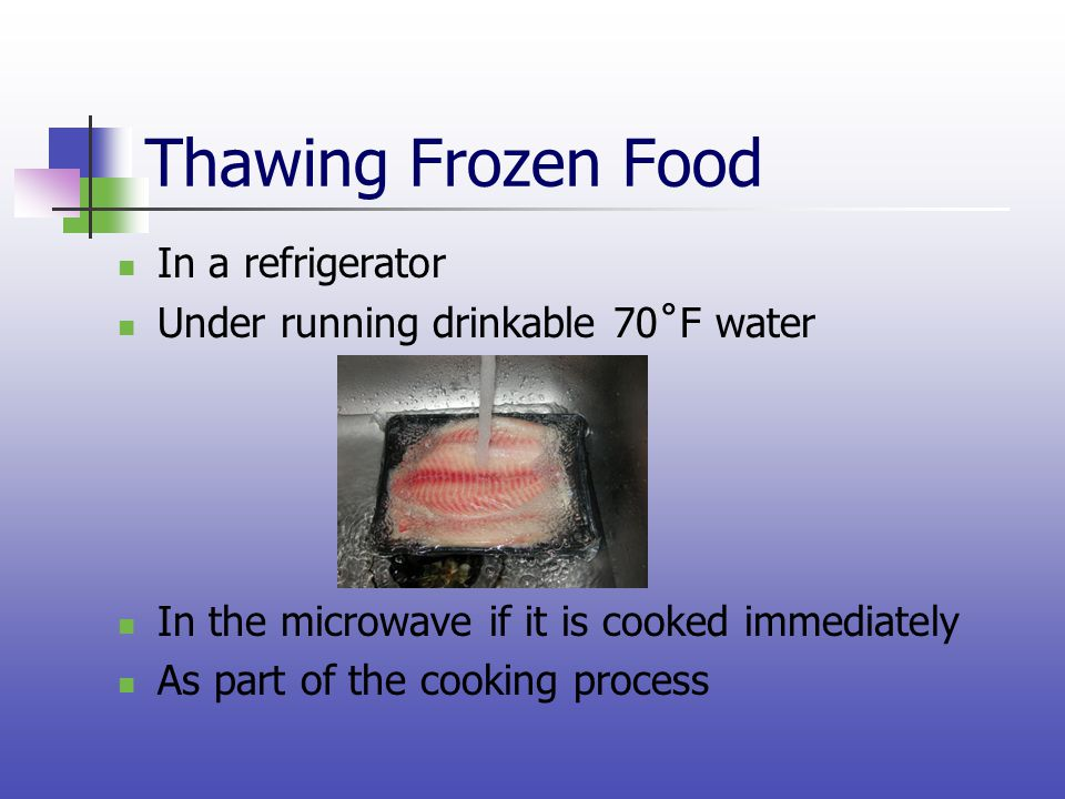 Thawing Frozen Food In a refrigerator