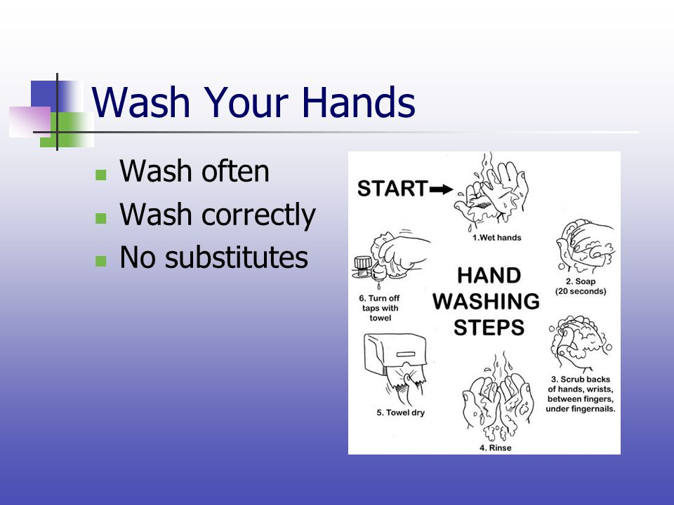 Wash Your Hands Wash often Wash correctly No substitutes