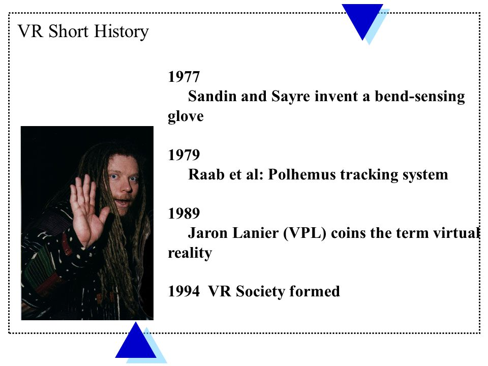 VR Short History 1977 Sandin and Sayre invent a bend-sensing glove