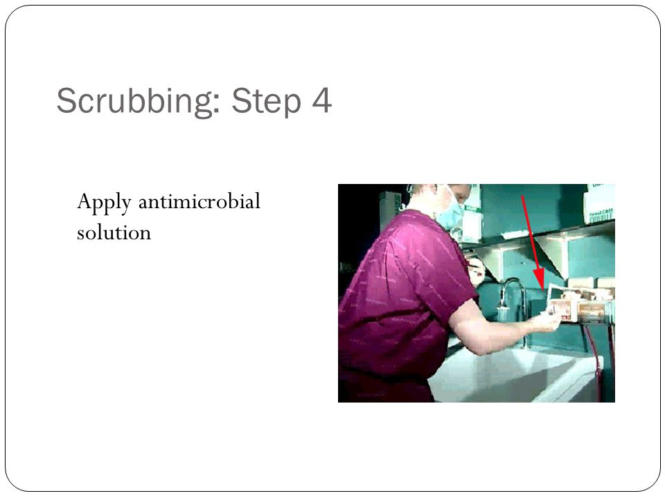 Scrubbing: Step 4 Apply antimicrobial solution