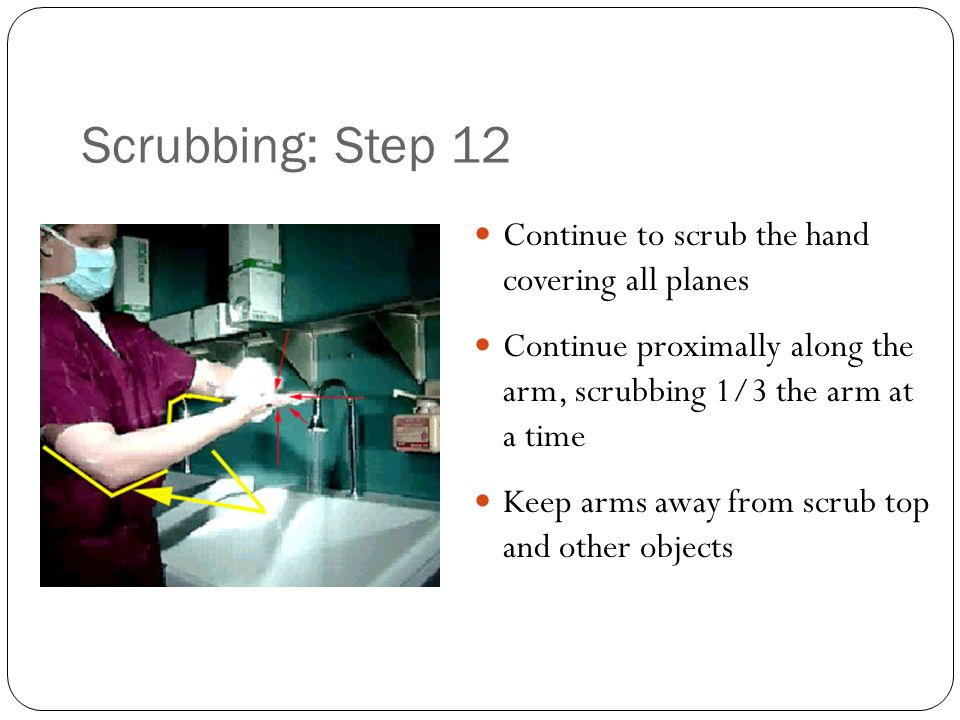 Scrubbing: Step 12 Continue to scrub the hand covering all planes
