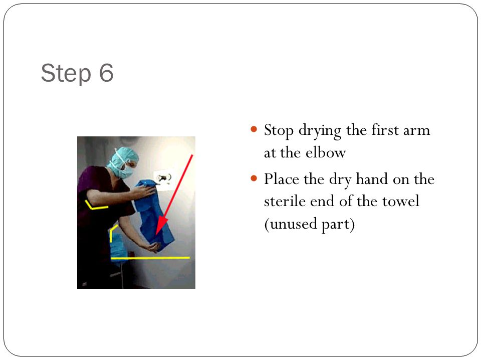 Step 6 Stop drying the first arm at the elbow