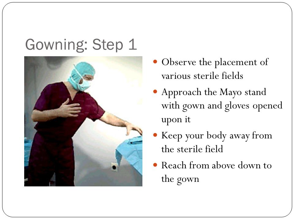 Gowning: Step 1 Observe the placement of various sterile fields