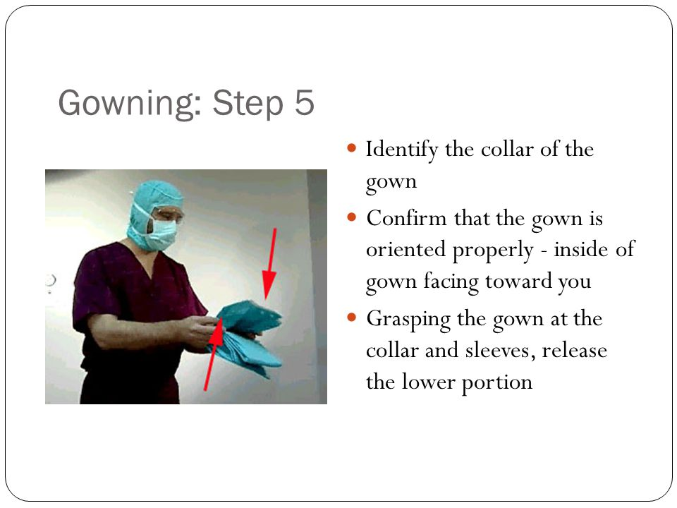 Gowning: Step 5 Identify the collar of the gown