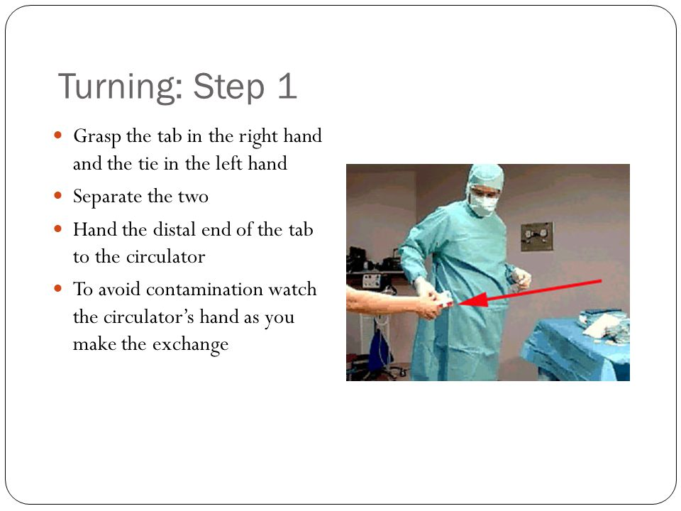 Turning: Step 1 Grasp the tab in the right hand and the tie in the left hand. Separate the two. Hand the distal end of the tab to the circulator.