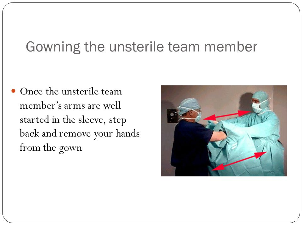 Gowning the unsterile team member