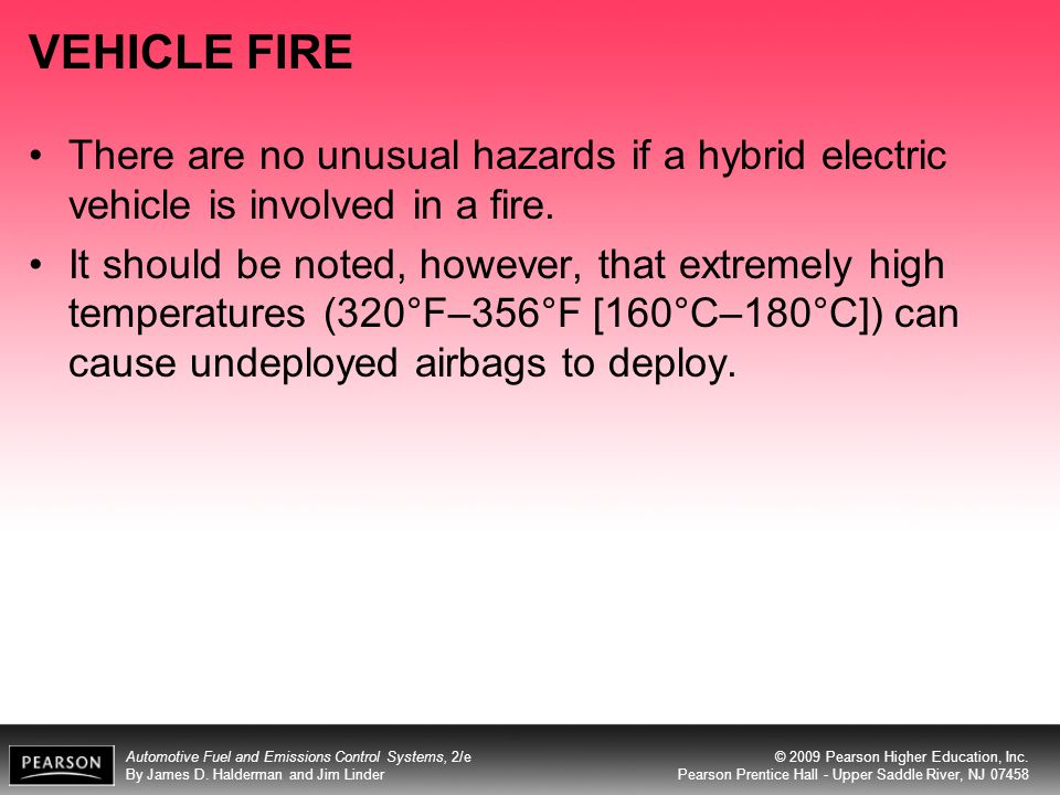 VEHICLE FIRE There are no unusual hazards if a hybrid electric vehicle is involved in a fire.