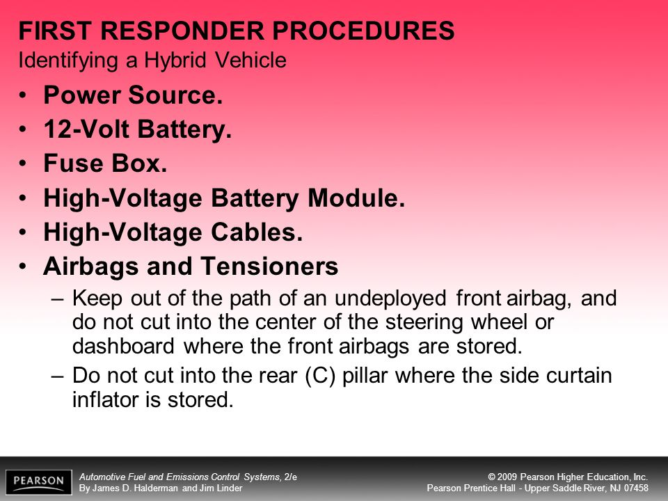 FIRST RESPONDER PROCEDURES Identifying a Hybrid Vehicle