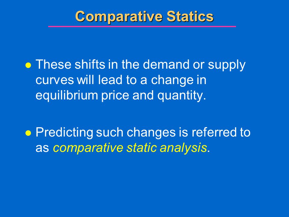 Comparative Statics These shifts in the demand or supply curves will lead to a change in equilibrium price and quantity.