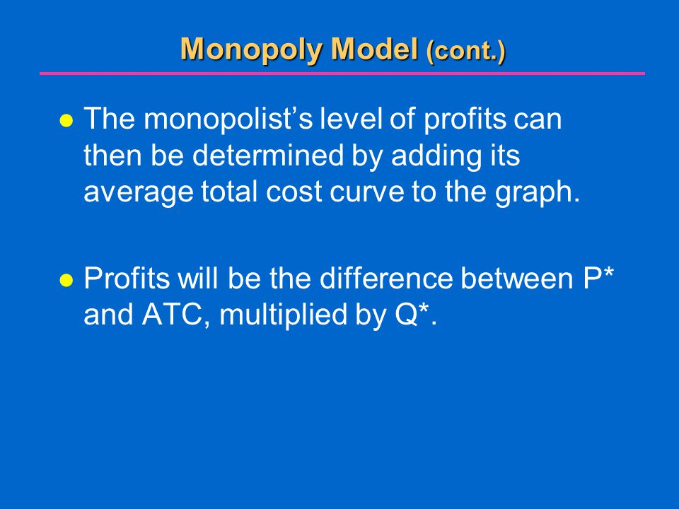 Monopoly Model (cont.) The monopolist's level of profits can then be determined by adding its average total cost curve to the graph.