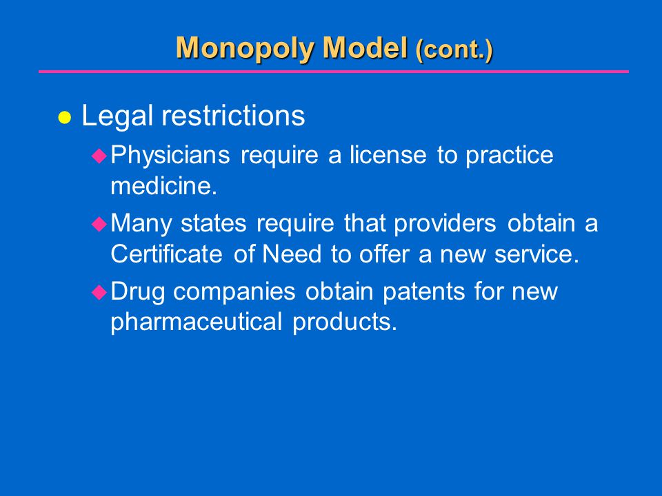 Monopoly Model (cont.) Legal restrictions