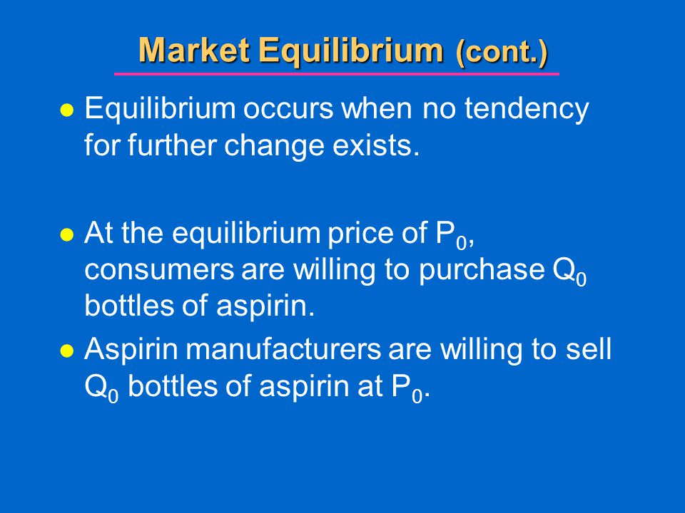 Market Equilibrium (cont.)