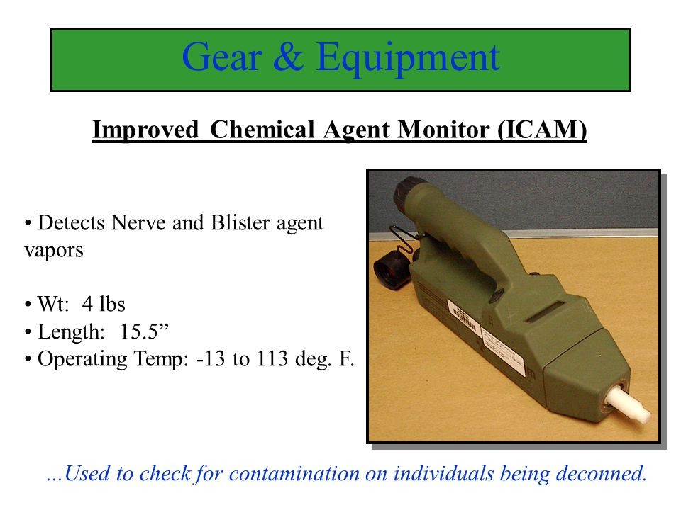 Gear & Equipment Improved Chemical Agent Monitor (ICAM)