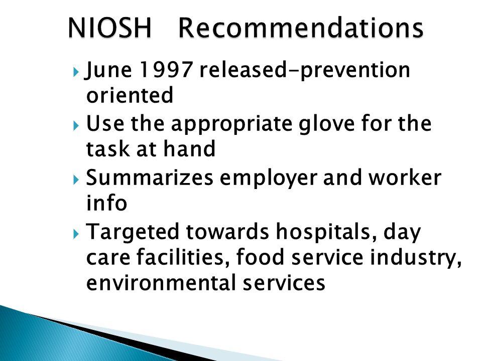 NIOSH Recommendations