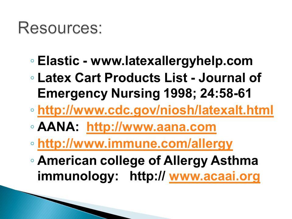 Resources: Elastic - www.latexallergyhelp.com