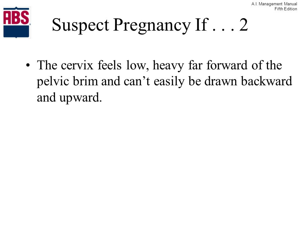 Suspect Pregnancy If .