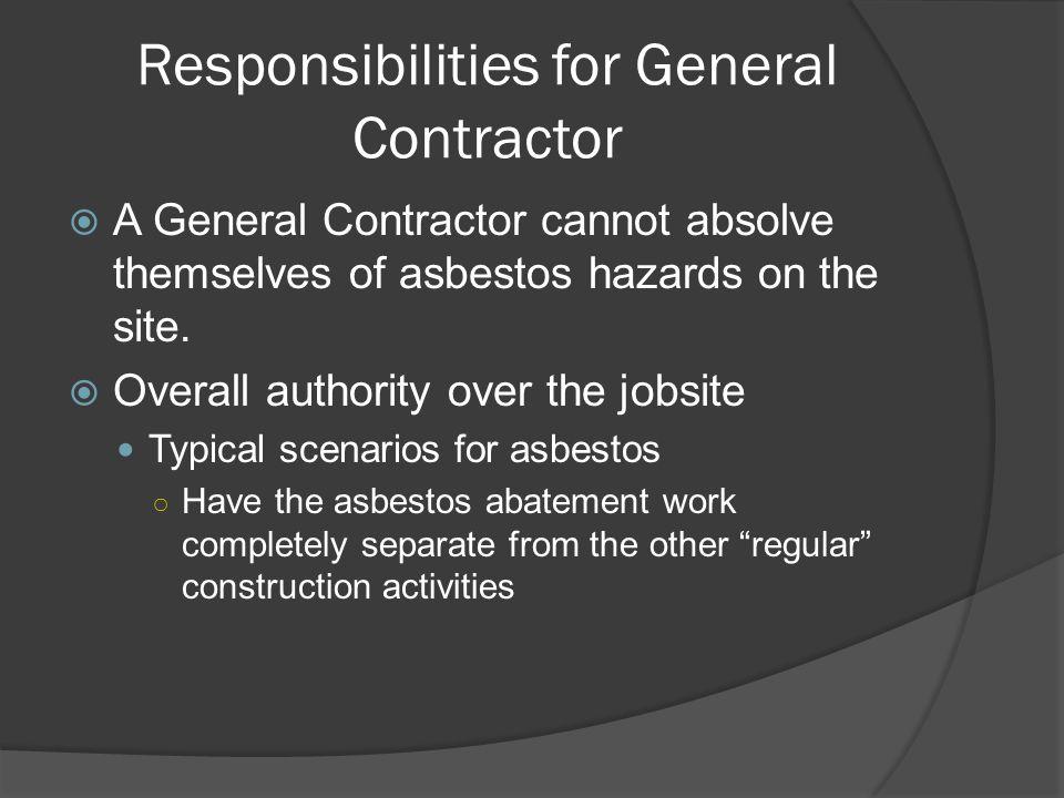 Responsibilities for General Contractor