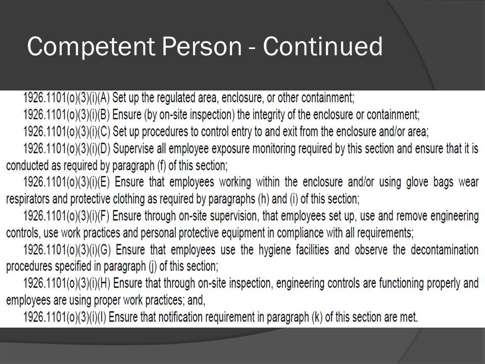 Competent Person - Continued