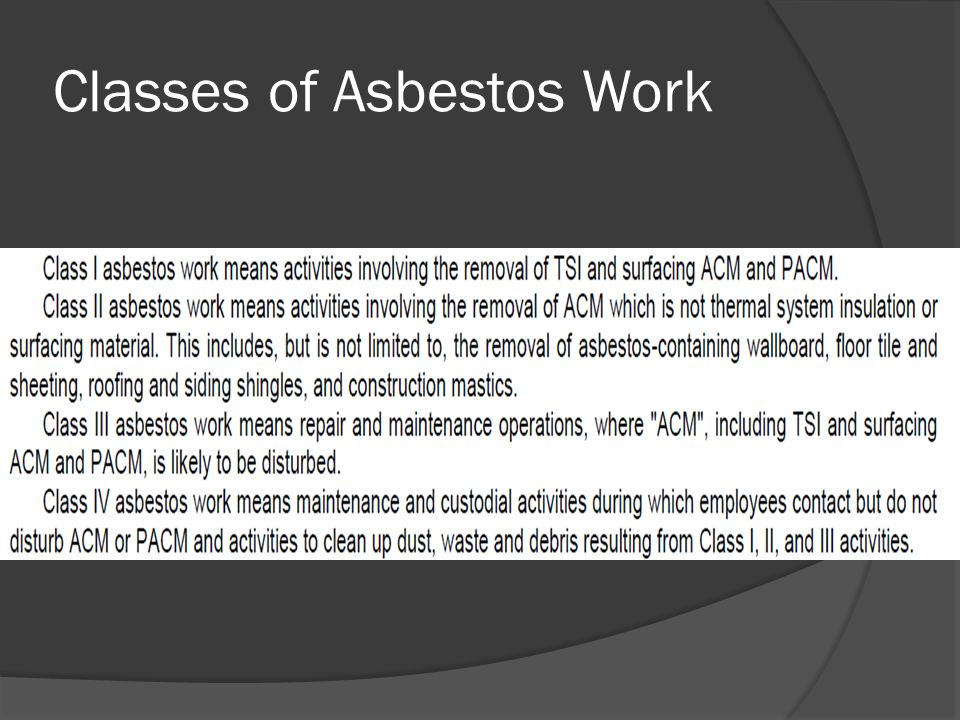 Classes of Asbestos Work
