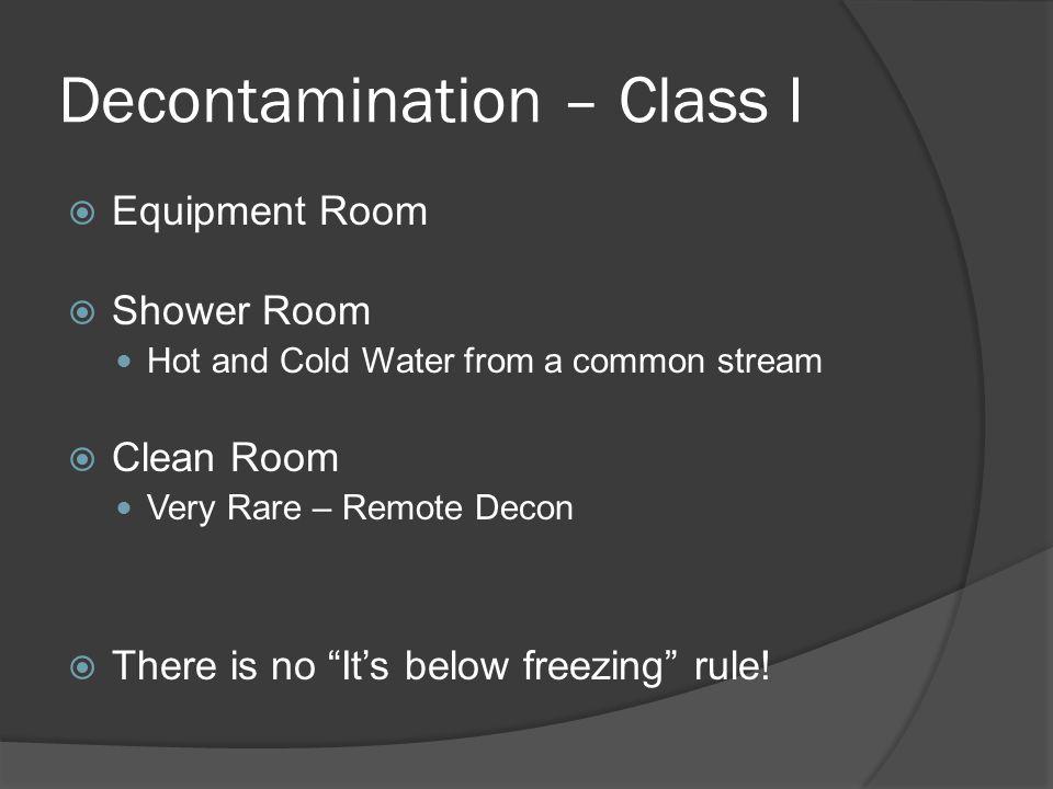 Decontamination – Class I