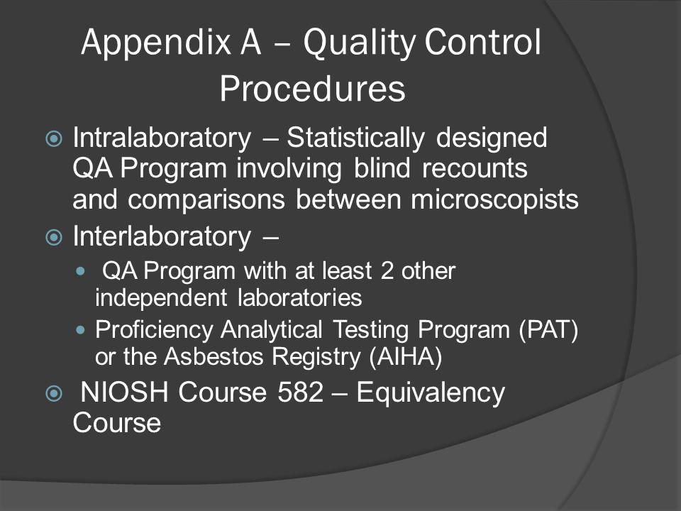 Appendix A – Quality Control Procedures