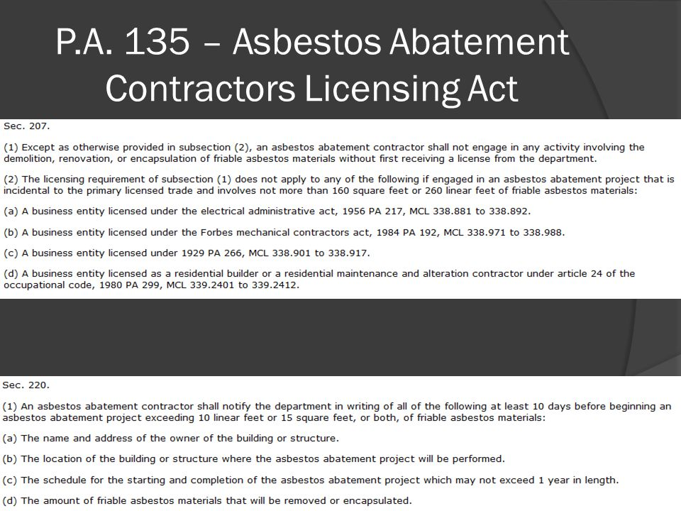 P.A. 135 – Asbestos Abatement Contractors Licensing Act