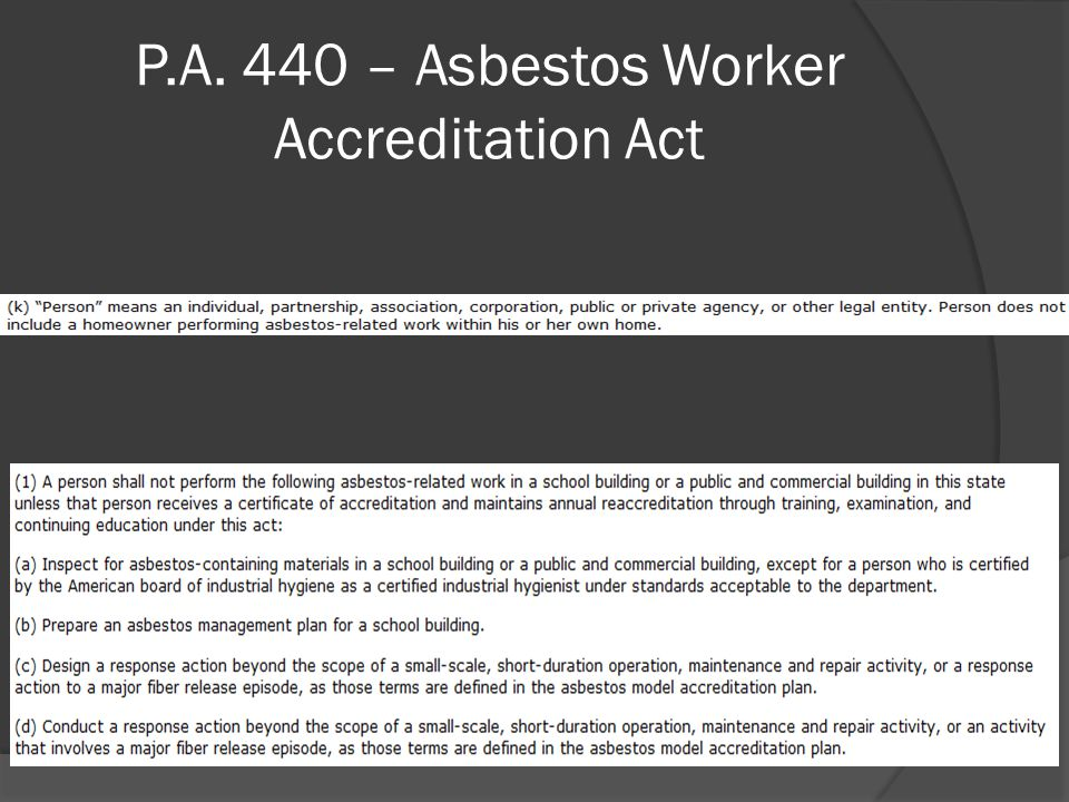 P.A. 440 – Asbestos Worker Accreditation Act