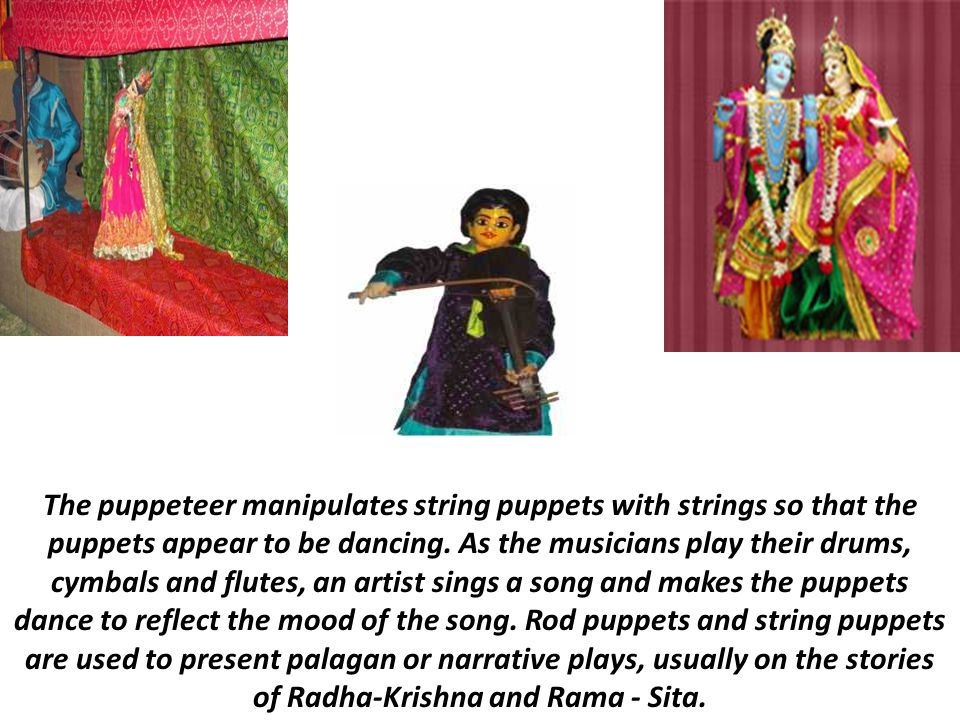 The puppeteer manipulates string puppets with strings so that the puppets appear to be dancing.