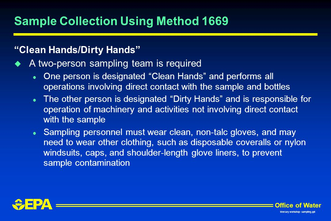 Sample Collection Using Method 1669