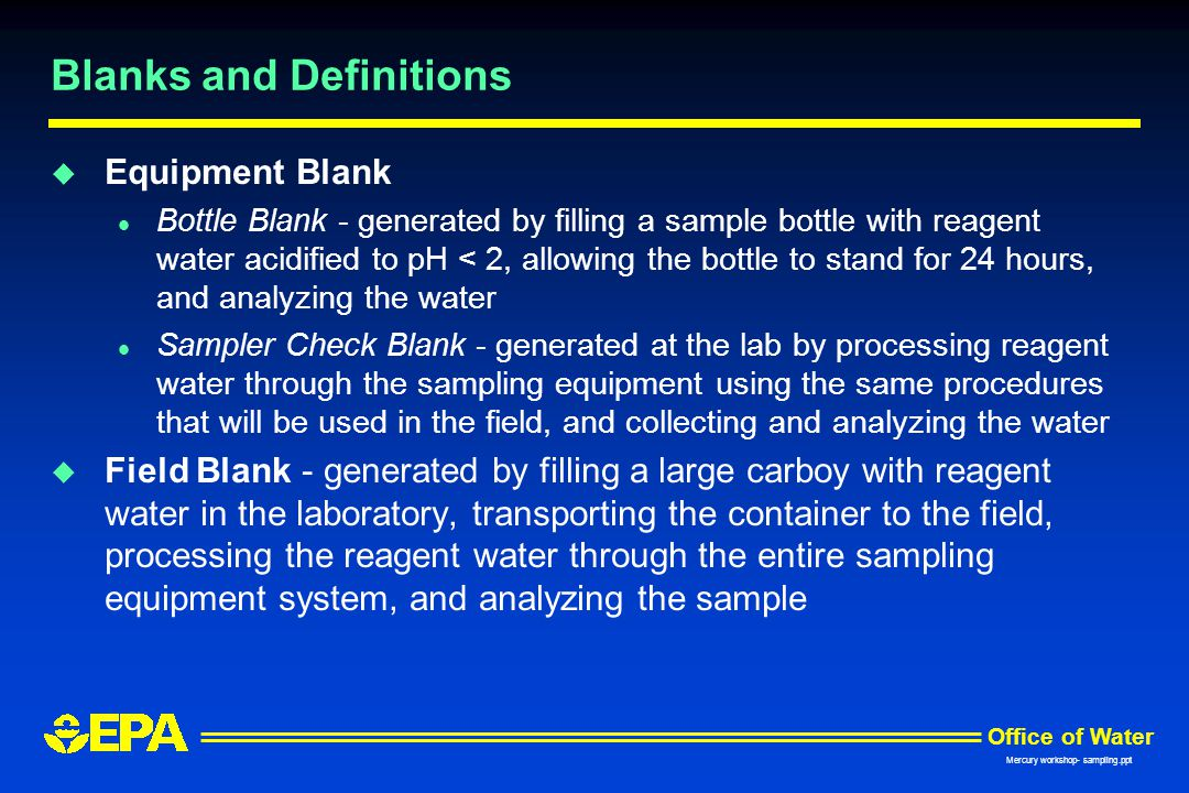 Blanks and Definitions