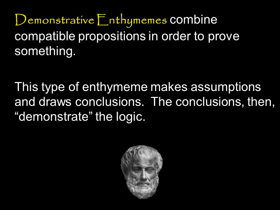 Demonstrative Enthymemes combine compatible propositions in order to prove something.