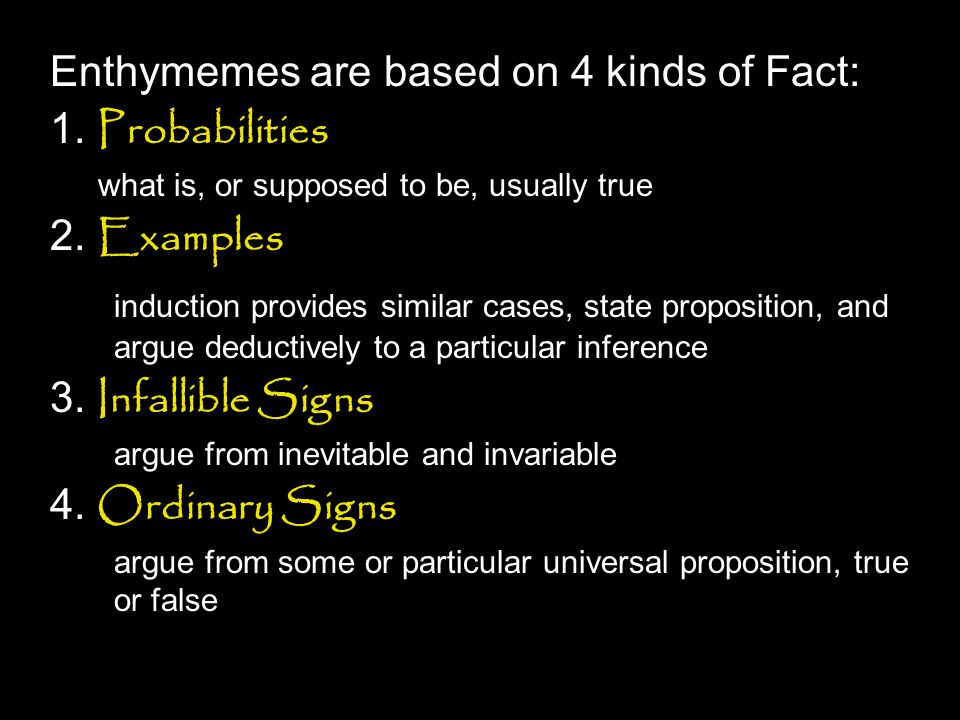 Enthymemes are based on 4 kinds of Fact: 1. Probabilities 2. Examples