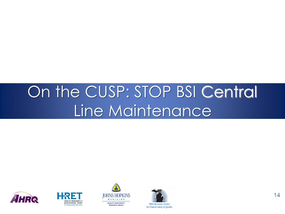 On the CUSP: STOP BSI Central Line Maintenance