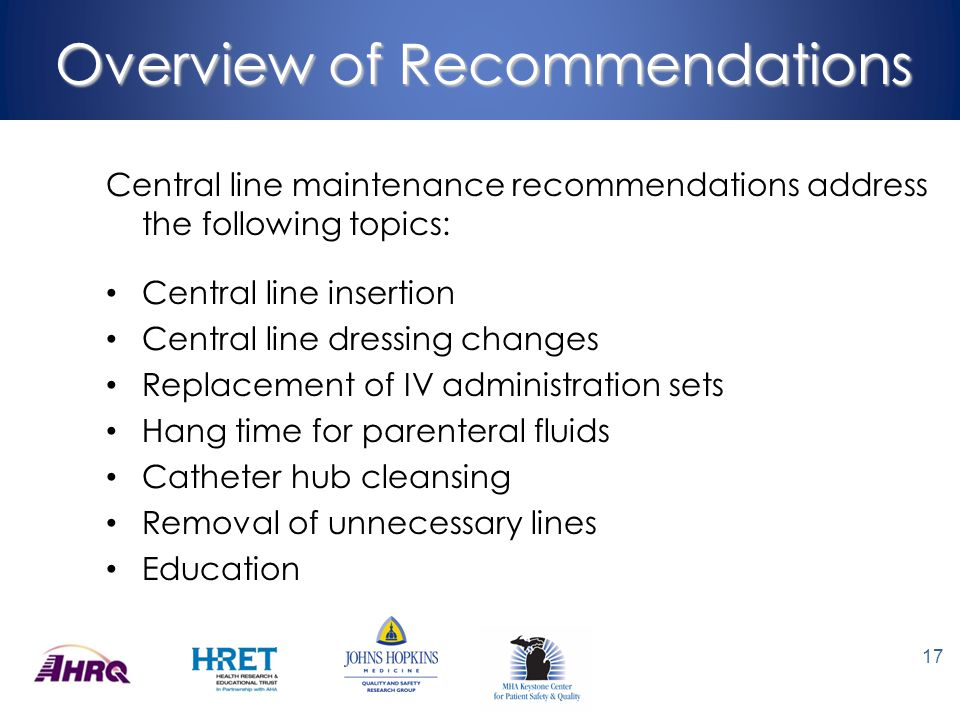 Overview of Recommendations