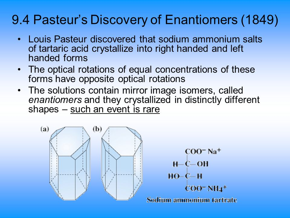 9.4 Pasteur's Discovery of Enantiomers (1849)