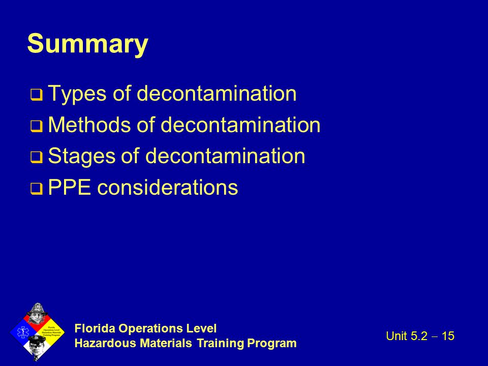 Summary Types of decontamination Methods of decontamination