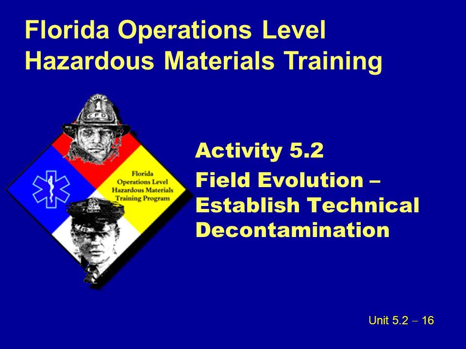 Activity 5.2 Field Evolution – Establish Technical Decontamination