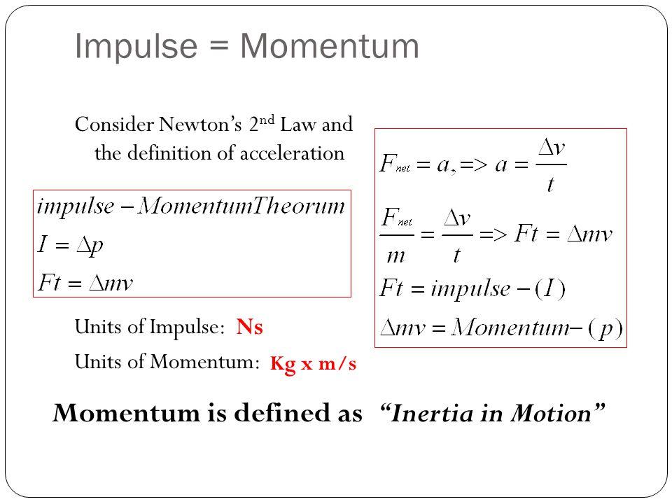 Impulse = Momentum Momentum is defined as Inertia in Motion Ns