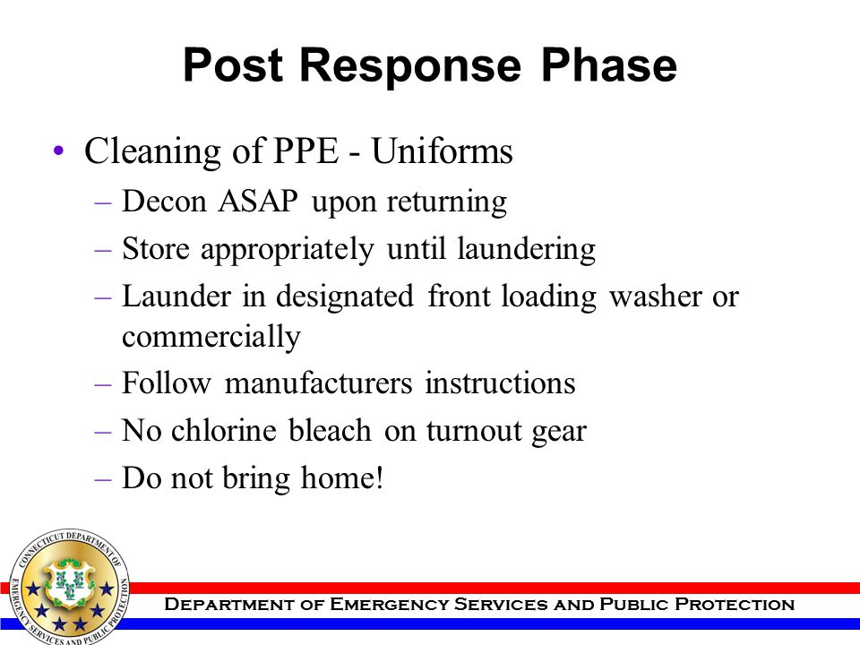 Post Response Phase Cleaning of PPE - Uniforms