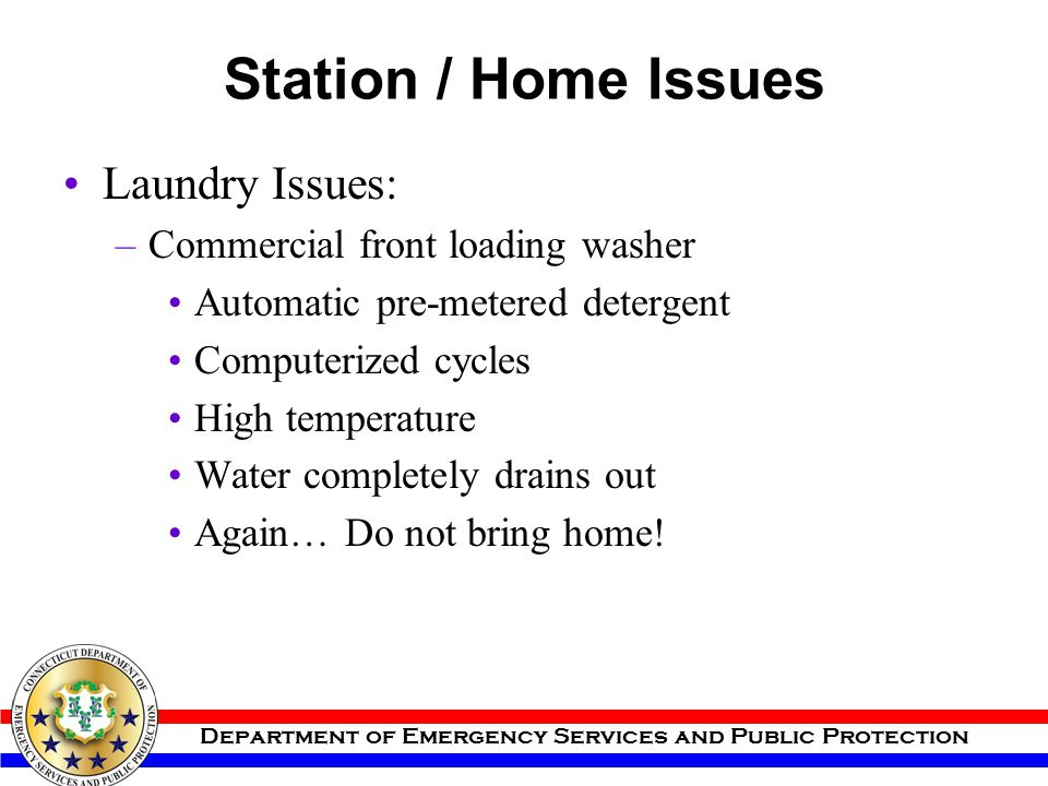 Station / Home Issues Laundry Issues: Commercial front loading washer
