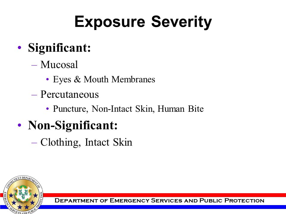 Exposure Severity Significant: Non-Significant: Mucosal Percutaneous