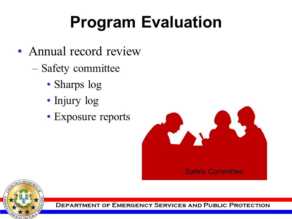 Program Evaluation Annual record review Safety committee Sharps log