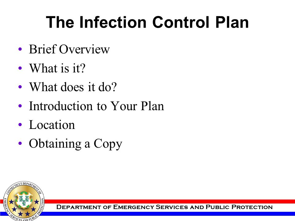 The Infection Control Plan